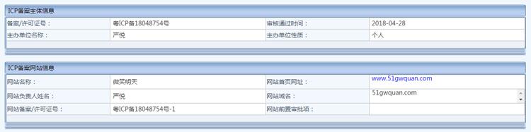 个人快速备案 粤ICP备18048754号-1 51gwquan.com的照片 - 1